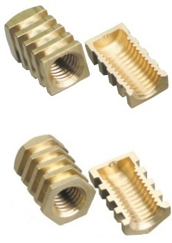 Brass threaded inserts for rotational molding